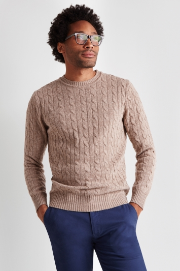Moss London Oatmeal Melange Cable-Knit Crew-Neck Jumper