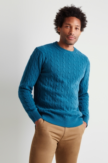 Moss London Teal Melange Cable-Knit Crew-Neck Jumper