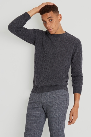 Moss London Charcoal Melange Cable-Knit Crew-Neck Jumper