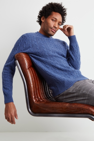Moss London Blue Melange Cable-Knit Crew-Neck Jumper