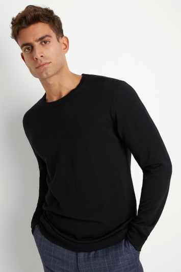 DKNY Black Merino Wool Crew-Neck Jumper