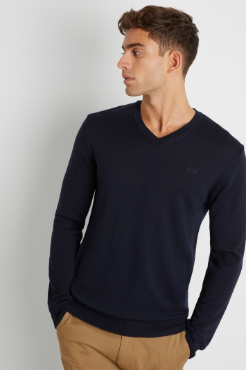 DKNY Navy Merino Wool V-Neck Jumper