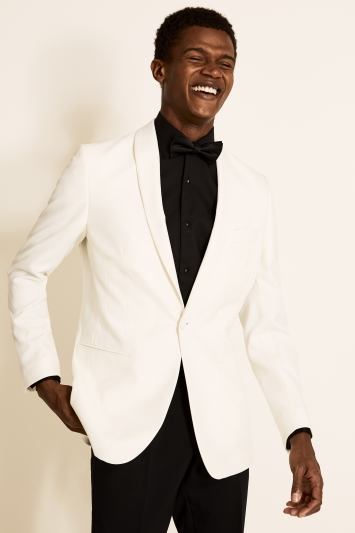 Moss 1851 Tailored Fit White Tuxedo Jacket