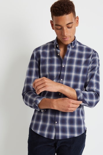 Moss London Skinny Fit Navy Single Cuff Check Casual Shirt