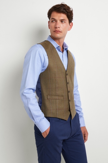 Moss 1851 Tailored Fit Tan Multi Check Waistcoat