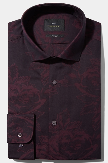 Moss London Skinny Fit Berry Single Cuff Jacquard Shirt