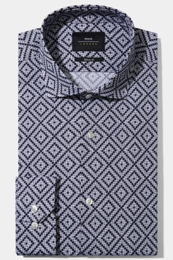 Moss London Skinny Fit Navy Single Cuff Geo Print Shirt