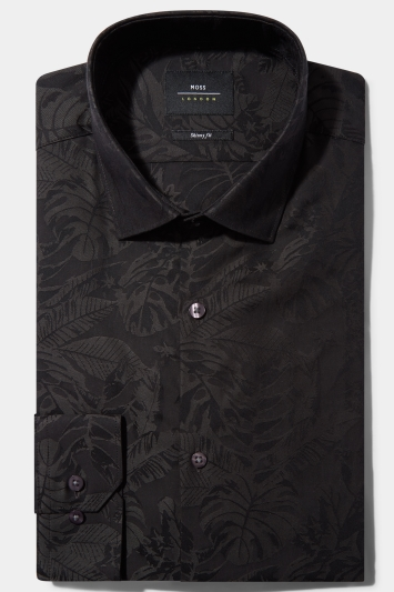 Moss London Skinny Fit Charcoal Single Cuff Jacquard Shirt