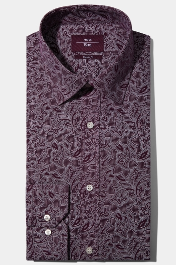 Moss Esq. Regular Fit Aubergine Print Single Cuff Shirt