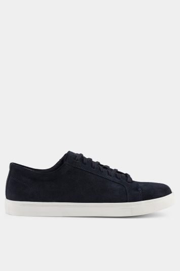 Moss London Stamford Navy Suede Trainer
