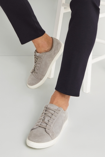 Moss London Stamford Grey Suede Trainer