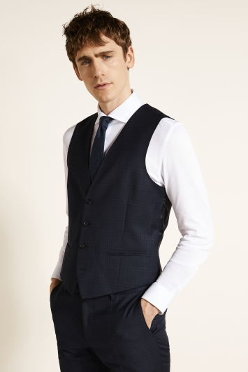 HUGO by Hugo Boss Navy Shadow Check Waistcoat