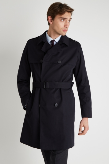 HUGO by Hugo Boss Slim Fit Navy Double Breasted Trenchcoat Water Repel