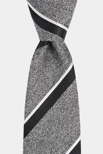 Moss London Premium Anthracite with Black & White Stripe Tie