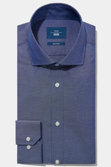 Moss 1851 Tailored Fit Navy Single Cuff Oxford Non Iron Shirt