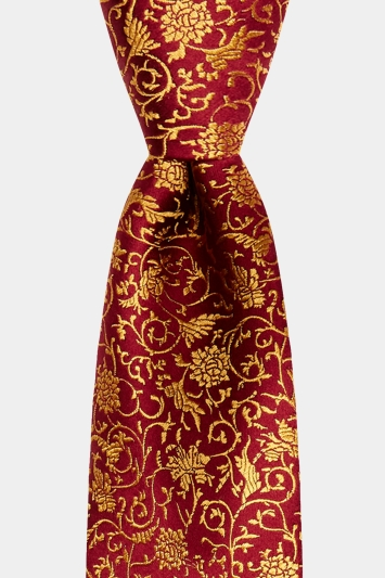 Moss 1851 Made in England Burgundy & Gold Floral Swirl Tie