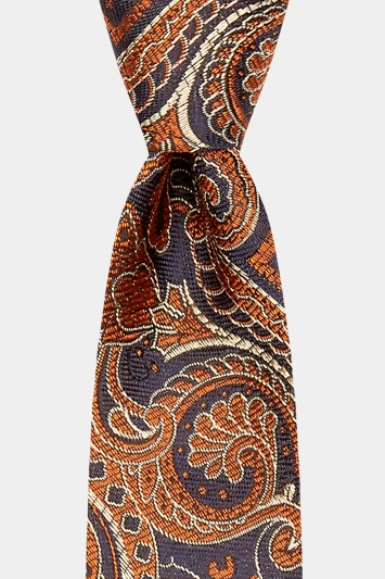 Moss 1851 Made in England Orange & Navy Large Paisley Tie