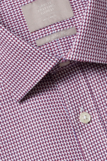 Savoy Taylors Guild Regular Fit Red & Navy Single Cuff Houndstooth Shirt