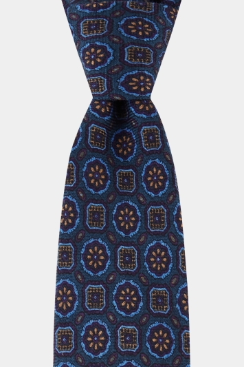 Moss 1851 Navy Medallion Printed Wool Tie