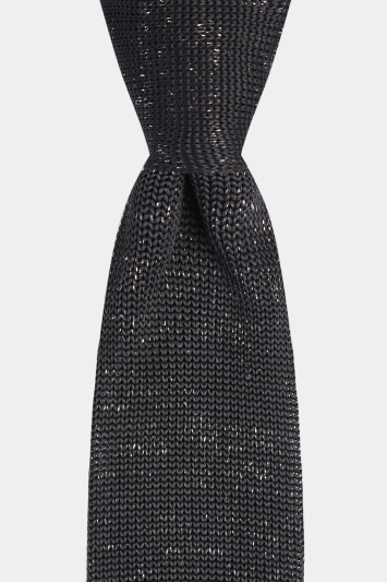 8e356b9cfad324 Moss London Black & Silver Knitted Tie