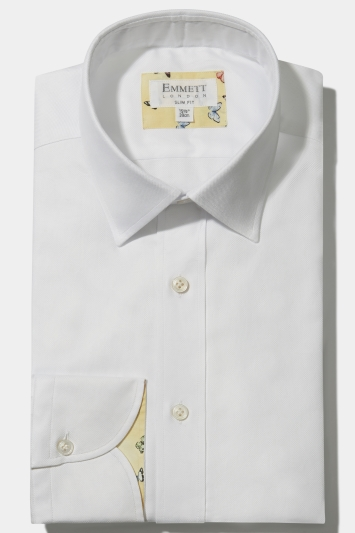 Emmett Slim Fit White Single Cuff Oxford Shirt