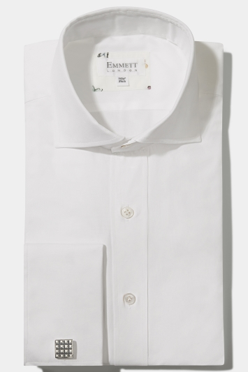 Emmett Regular Fit White Double Cuff Pinpoint Oxford Shirt