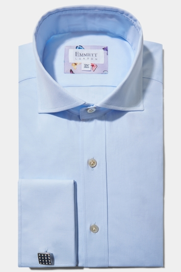Emmett Regular Fit Light Blue Double Cuff Pinpoint Oxford Shirt