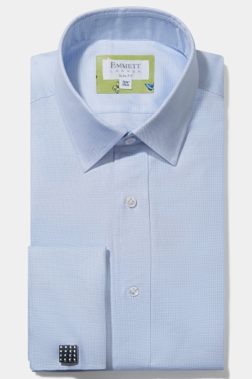 Emmett Slim Fit Blue Double Cuff Oxford Shirt