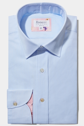 Emmett Slim Fit Light Blue Single Cuff Stripe Oxford Shirt