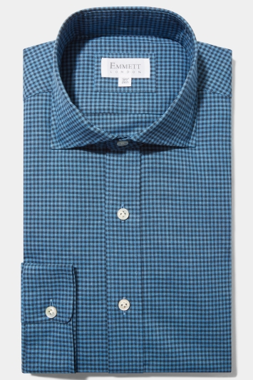 Emmett Regular Fit Light Blue Single Cuff Brushed Check Shirt