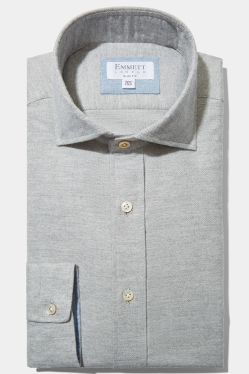 Emmett Slim Fit Grey Single Cuff Cotton Cashmere Shirt