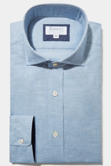 Emmett Slim Fit Blue Single Cuff Cotton Cashmere Shirt
