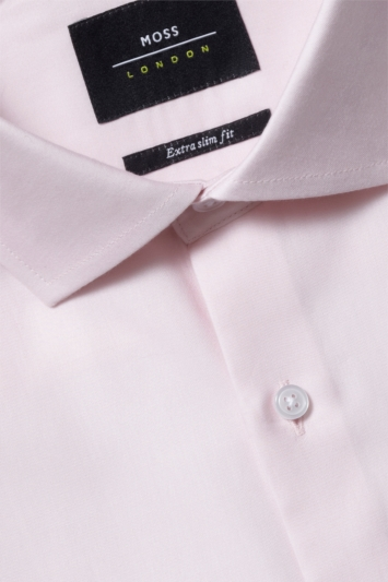 Moss London Premium Extra Slim Fit Pink Single Cuff Dress Shirt