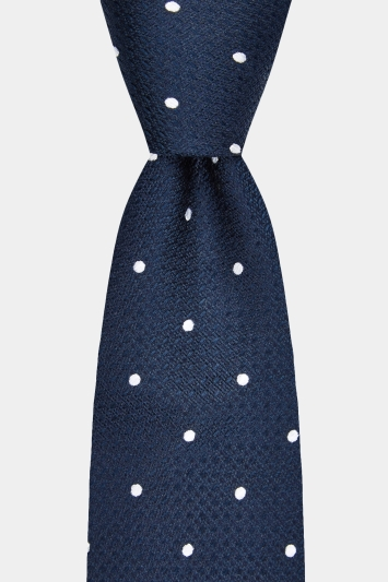 Moss 1851 Navy Texture with White Spot Tie