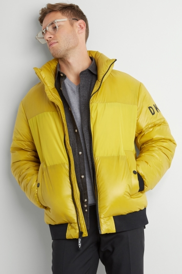 DKNY Slim Fit Yellow Quilted Puffer Jacket