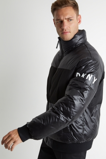 DKNY Slim Fit Black Quilted Puffer Jacket