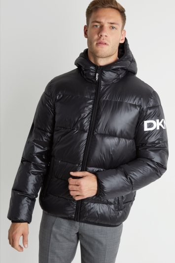 DKNY Slim Fit Black Logo Puffer Hoody