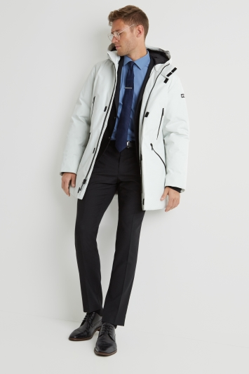 DKNY Slim Fit White Long Hooded Logo Parka