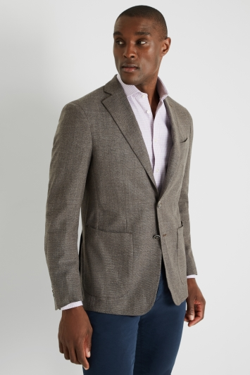 Savoy Taylors Guild Tailored Fit Brown Textured Design Jacket