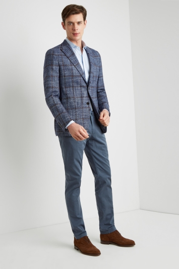 Savoy Taylors Guild Tailored Fit Blue/Brown Bold Windowpane Jacket