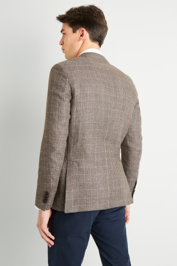 Savoy Taylors Guild Tailored Fit Brown Prince Of Wales Check Jacket