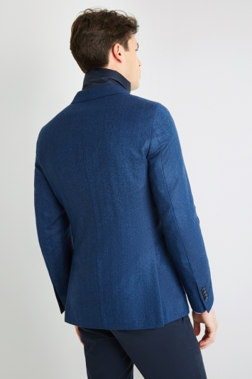 Savoy Taylors Guild Tailored Fit Single Breasted Bright Blue Herringbone Jacket