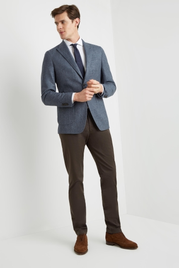 Savoy Taylors Guild Tailored Fit Blue Brushed Semi Plain Jacket