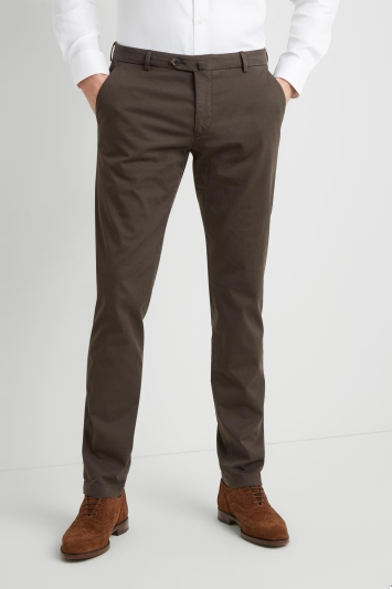Savoy Taylors Guild Tailored Fit Chocolate Chinos