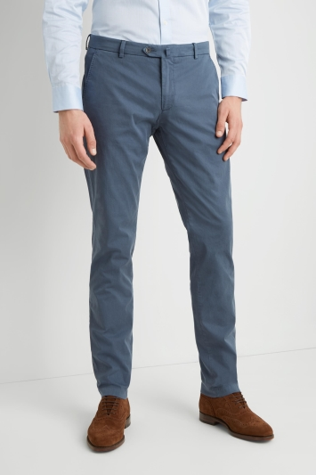 Savoy Taylors Guild Tailored Fit Mid Blue Chinos