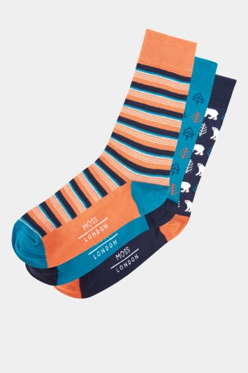 Moss London Navy, Orange & Blue Polar Bear Sock 3-Pack Boxed Gift Set
