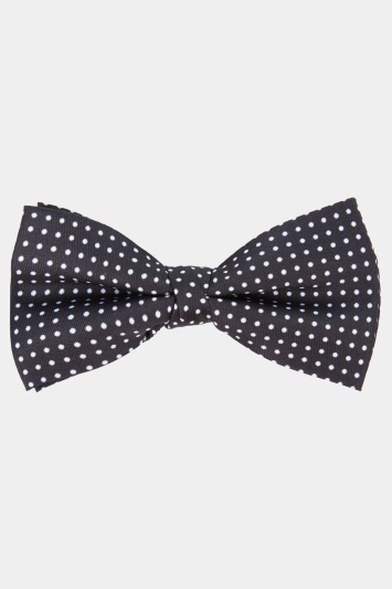 Moss 1851 Black with White Printed Pin Dot Bow Tie
