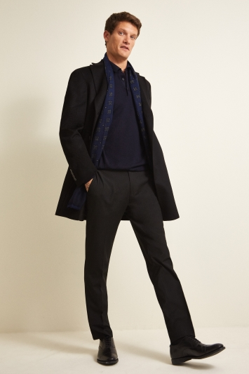 Savoy Taylors Guild Tailored Fit Black Cashmere Coat