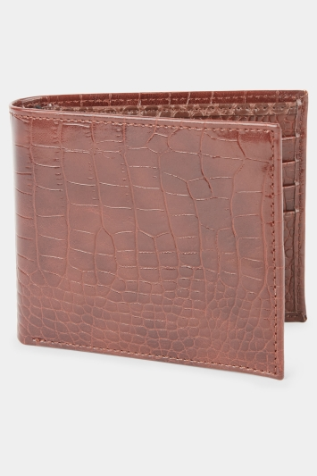 Moss London Gift Boxed Conker Brown Mock-Croc Bi-Fold Wallet