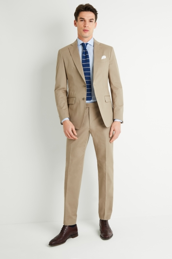Savoy Taylors Guild Tailored Fit Beige Cotton Jacket
